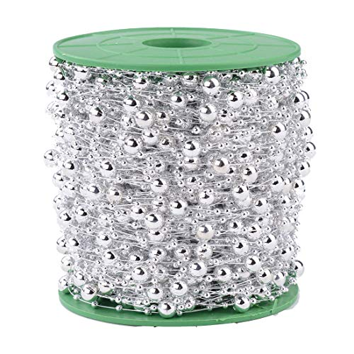 Xihui 200 Fuß 60M 8 + 3mm Angelschnur Künstliche Perle Perlenbesatz für DIY Blume, Haarband, Perlengirlande für Brautstrauß, Hochzeitsdekoration (Silber)