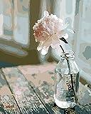 YEESAM ART Neuerscheinungen Malen nach Zahlen für Erwachsene Kinder - Romantisch Blumensprache Flower Language Blume 16 * 20 Zoll Leinen Segeltuch - DIY ölgemälde ölfarben Weihnachten Geschenke (Mit Rahmen)