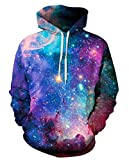 Leslady Unisex Herren Slim Fit 3D Druck Kapuzenpullover Kapuzen Sweatshirt Winter Hoodie Pullover (S/M, 5-Brillante Galaxie)