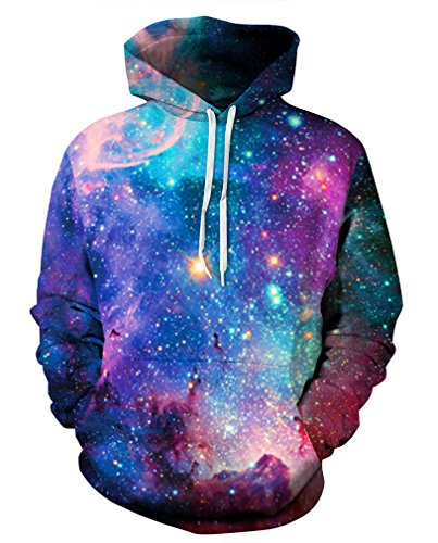 Leslady Unisex Herren Slim Fit 3D Druck Kapuzenpullover Kapuzen Sweatshirt Winter Hoodie Pullover (L/XL, 5-Brillante Galaxie)
