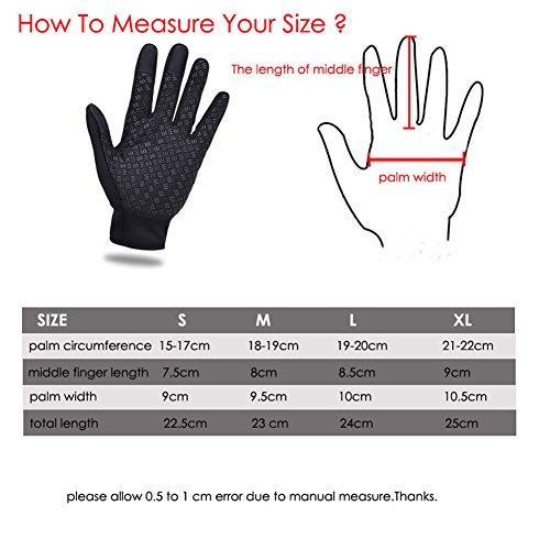 phego Touchscreen Handschuhe Outdoor Sport Damen Warme Fahrradhandschuhe Winddicht und Touchscreen geeignet (L) - 6
