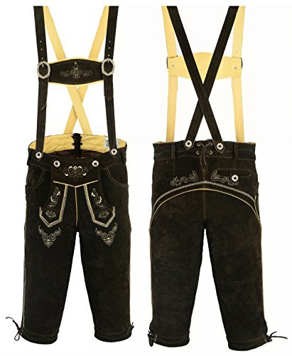 mens-bavarian-lederhosen-with-matching-suspenders-cowhide-leather-various-sizes-52-suitable-for-36-i