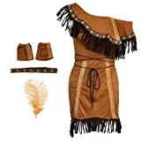D DOLITY Indianerin Kostüm Western Cosplay Kostüm Karneval Kleidung, Größe S/M/L/XL/XXL - L