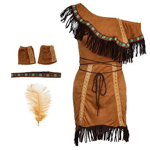 Stammes Prinzessin Kostüm Indische - PETSOLA Damen Indianer Kostüm Halloween Party Kostüm - M
