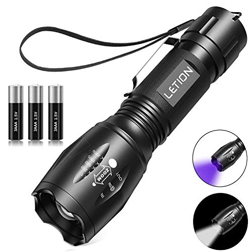 2 in 1 UV Lampe LETION , Schwarzlicht und Weißes Licht Taschenlampe LED,395nm Ultraviolette Taschenlampe 4 Modi,Detektor für unechte Banknoten,Urin von Hunde, und andere Haustiere Taschenlampenzubehör
