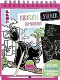 Kratzel-Stickerbuch für Mädchen: Kratzelbuch mit über 60 Stickern zum Kratzeln, 20 Ausmalseiten und Holz-Kratzstift.