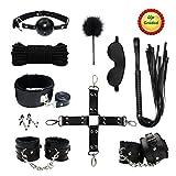 Paloqueth Sex Werkzeuge 10 Stück unter dem Bett Restraint System Slave S&M Fesseln Bondage Kit (Schwarz)