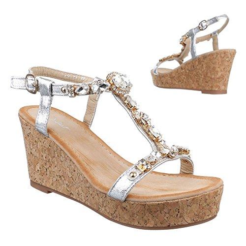 Damen Schuhe, HJ99-21, SANDALETTEN KEIL WEDGES PLATEAU PUMPS Silber