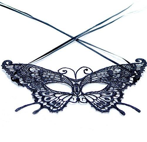 Da.Wa 1 Stück Schmetterlings Form Spitze Masken Maskerade Halloween Abendkleid Partei Kostüm Partei Schwarz
