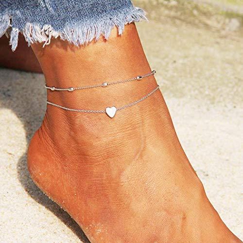 Simsly Beach Heart Fußkettchen Gold oder Silber Perlen Knöchel Armbänder Fußschmuck Für Frauen und Mädchen (Silver)
