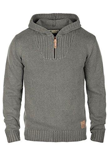 !Solid Penn Herren Winter Pullover Strickpullover Kapuzenpullover Grobstrick Pullover mit Kapuze und Reißverschluss Am Kragen, Größe:M, Farbe:Grey Melange (8236)