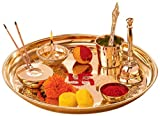 Jaipuri haat Hand Made Brass Puja Thali Set (410 Gram Weight, 10 inch Diameter)