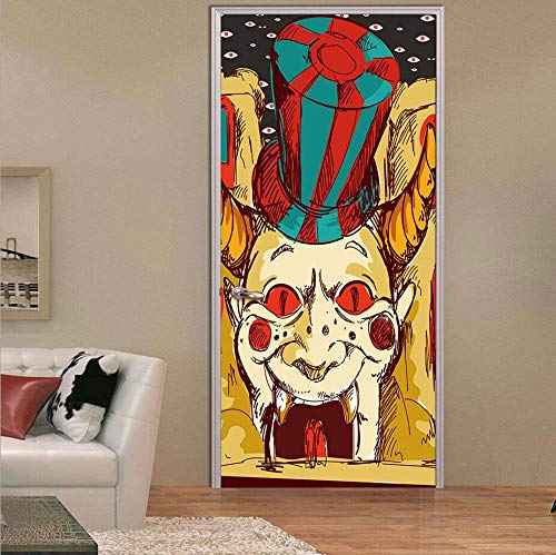 misssixty Happy Halloween 3D Tür Tapete Wandmalereien Wand Sticker Selbstklebend Vinyl abnehmbarer Art Tür Aufkleber 77x 199,9cm Creepy Clown (3d Happy Halloween)