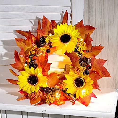 Pagen Blumenkranz Türkranz Kranz mit LED Beleuchtung Blätter und Sonnenblumen Ø 25 cm zum hängen oder Legen Frühling Sommer