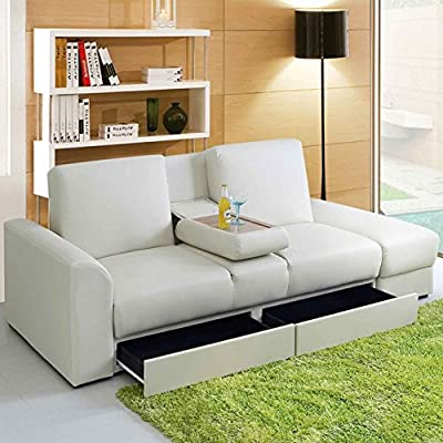 New Modern Faux Leather Kensington Storage Drawers 3 Seater Sofa Bed & Foot Stool In Black, Brown or White - cheap UK sofabed shop.