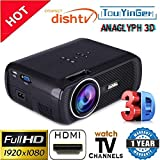 #2: Myra TouYinGer X7 Led Projector 1800 Lumens, 800*600 HDMI USB VGA TV Home Cinema, Support Red & Blue 3D Format