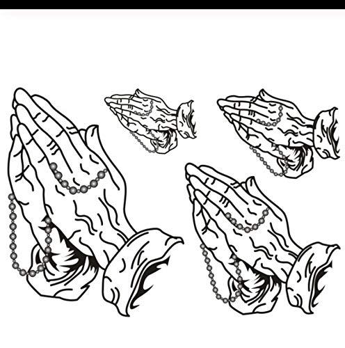 LFVGUIOP Wasserdicht Temporäre Gefälschte Tätowierung Aufkleber Cool Black Buddha Gebet Klassisches Design Körperkunst Bilden Werkzeuge pcs 3 (Gebet Die Für Halloween-tag)