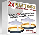 2x ULTIMATE FLEA TRAPS by Medipaq® + 12 Sticky Discs – The ONLY 15 Watt Trap on Amazon – Truly Replicates Animal Body Heat – The Most Effective On The Market