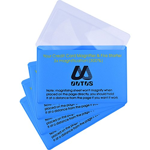 4 Packung Kunststff Leselupe Objektiv Kreditkartengröße Lupe Brieftasche Pocket Linse Firestarter...