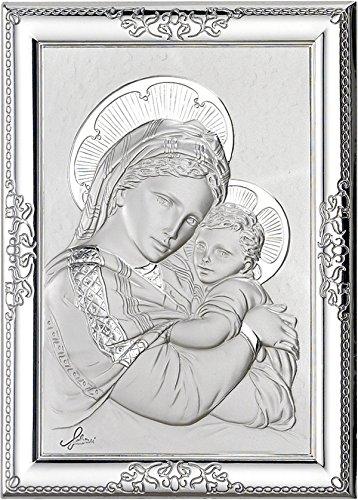 Ferrari & Arrighetti Cuadro de la Virgen María con el Niño Jesús de Plata 925 y Madera - 12 x 9 cm