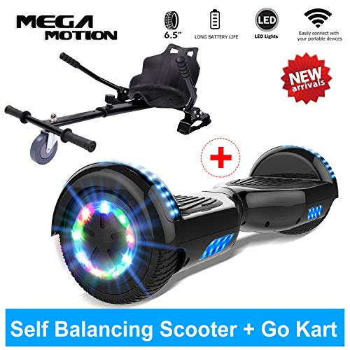 Mega Motion Hoverboard Self Balance Scooter Elettrico 6.5\'\' E-Star, Scooter Elettrico Auto bilanciamento, Ruote con LED, Tenda LED, Altoparlante Bluetooth, Motore 700W, Modello E-Star (Camo)