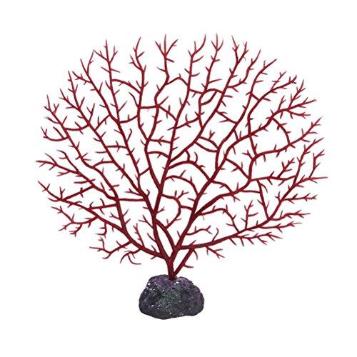PIXNOR Corallo Artificiale Pesci Serbatoio Ornamento Acquario Decorazione (Rosso)