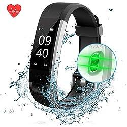 ANEKEN Pulsera de Actividad Pulsera Inteligente con Pulsómetro Pulsera Deportiva y Monitor de Ritmo Cardíaco Impermeable IP67 Reloj Fitness Podómetro, Sueño, Notificación de SMS