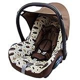 BAMBINIWELT Ersatzbezug für Maxi-Cosi CabrioFix 6-tlg., Bezug für Babyschale, Komplett-Set BRAUN + BRAUNE/BEIGE FEDERN *NEU*