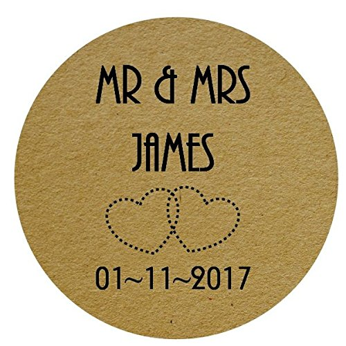 Round personalised wedding engagement party favour labels stickers floral bird shabby chic design 35 x 37mm wide labels clear