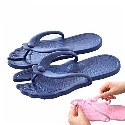 Happy Lily Flip-folps Chaussons Semelles antidérapantes Sandales Mules en intérieur ou extérieur piscine Chaussures de salle de bain avec dessus amovible Idéal pour voyager, bleu