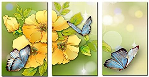 OBELLA New Top Wall Art Canvas Prints 3 Pieces || Yellow Flower Butterfly || Modern Contemporary Posters Oil Paintings Prints and Pictures Photo Image Wall Art Prints on Canvas Painting for Home Bedroom Living Room Wall Decor Christmas Gifts Decoration - Frameless