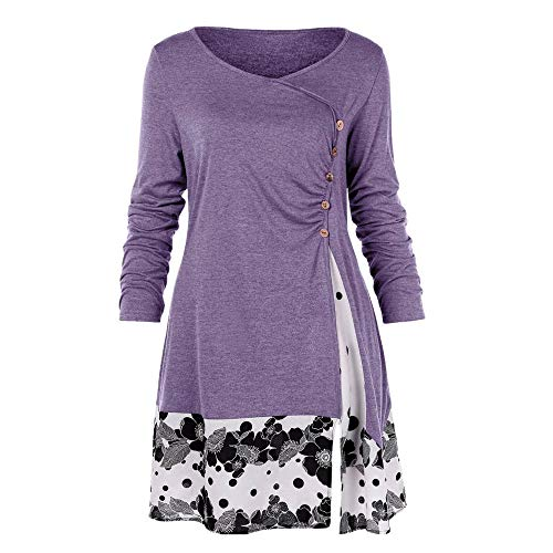 VJGOAL Damen Pullover, Damen Mode Übergröße Drapierte Bluse Mit Knopfleiste und Lange Tunikabluse Mode Trend Reifen Nähte Drucken Bluse(Lila,50)