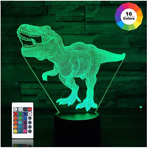 Dinosaurier Spielzeug, T Rex 3D Nachtlicht 16 Farben Ändern Nachtlichter für Kinder mit Fernbedienung, T Rex Geburtstagsgeschenke für Jungen Alter 2 3 4 5 6+ Jahre alter Junge Geschenke