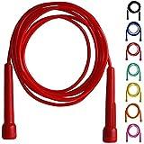 Farabi Corde à Sauter en Nylon avec Poignée en Plastique pour Fitness Entraînement de Boxe et Gym (Rouge)