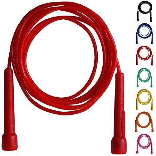 Farabi comba Saltar Fitness Boxercise Cuerda de Nailon Mango de plástico Gimnasio Ejercicio (Rojo)