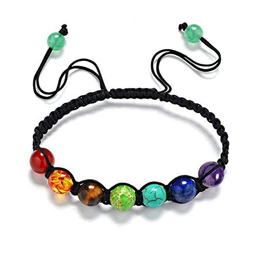 Stillshine - Chakra Yoga Balancing Runde Stein Perlen Elastische Natürliche Perle Kette, Charm Herren Frauen Geschenkbox (Stil 1)