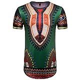 Herren T-Shirt CLOOM Sommer Casual Oberteile Totem gedruckt Hemden afrikanisch Art Sweatshirt Kurzarm Outwear Print Hoodie Männer O-Neck O-Ausschnitt Hemden Formal Bluse (Grün, S)