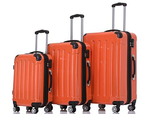 BEIBYE- 3er Kofferset Hartschalen-Koffer Reisekoffer Trolley Rollkoffer Set Reisekofferset (Orangen)