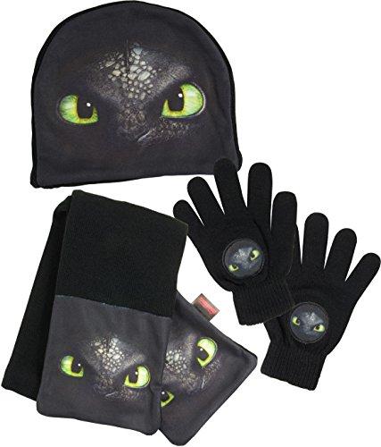 3 Artikel Kostüm - Dreamworks Dragon Kinder Winter 3er Set: Mütze, Handschuhe, Schal, schwarz
