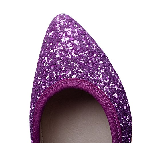 AllhqFashion Femme Tire Tissu à Paillette Pointu Couleurs Mélangées Chaussures à Plat Violet