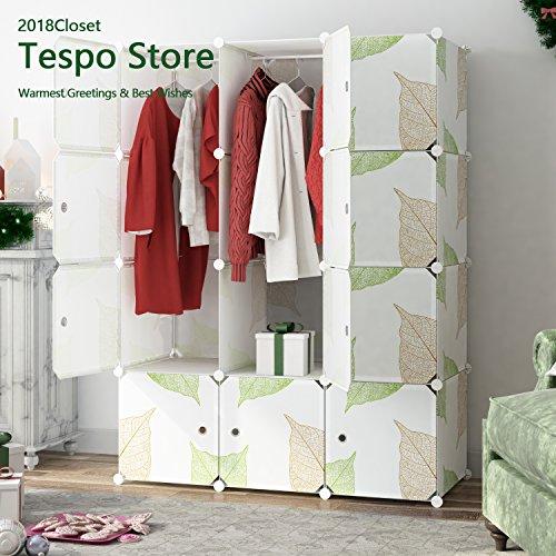 Tespo Portable Kleiderschrank Schrank Verriegelung Kunststoff Schrank Modular Armoire, 111 × 47 × 147 cm, 12 tiefer Cubes, Blatt weiß