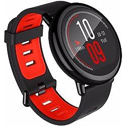 Smartwatch AMAZFIT GPS Reloj inteligente de ajuste increíble para deportes con Bluetooth, Wifi, Dual 512MB/4GB, cuenta con monitor frecuencia cardíaca para iOS Xiaomi huami (versión en inglés) en color rojo/negro por Gshopper®