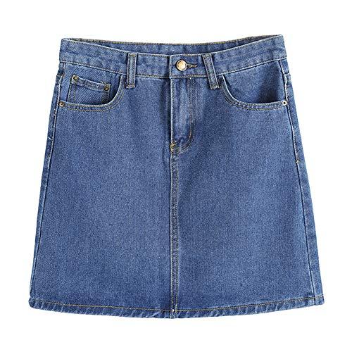 osmanthusFrag Women Fashion High Waist Bodycon A-Line Jeans Denim Mini Skirt - Dark Blue L