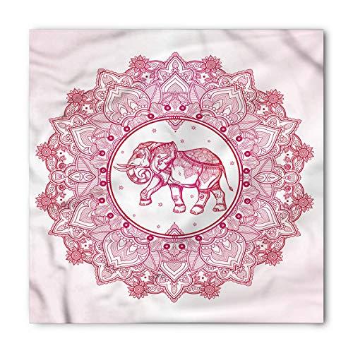 Mandala Bandana, Mandala with Elephant Boho, Unisex Head and Neck Tie 60x60cm