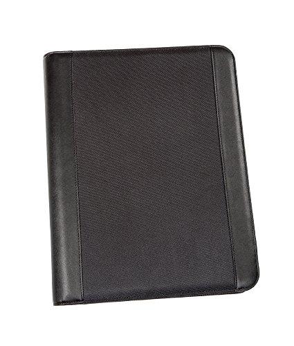 Genie A4 Schreibmappe mit herausnehmbarem Ringbuch (Frankfurt, rundum Reißverschluss, inkl. Schreibblock, in Lederoptik und strukturiertem Nylon) schwarz