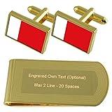 Dubai Fahne Gold-Manschettenknöpfe Geldscheinklammer Gravur Geschenkset