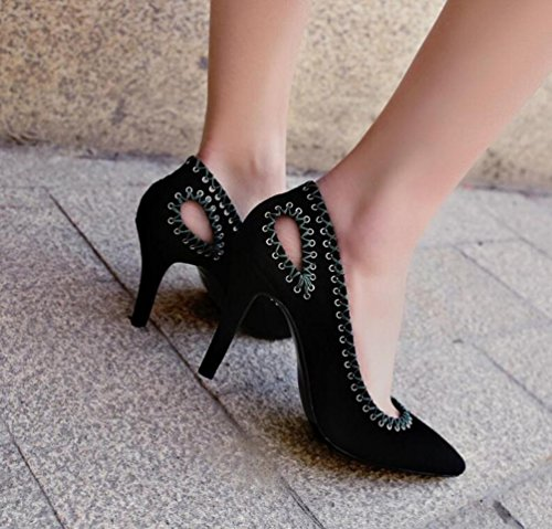 OL pompe cavallino nudo pelle scamosciata scarpin tacco alto Peep Toe donne facile da abbinare scarpe eleganti UE taglia 34-39 Black