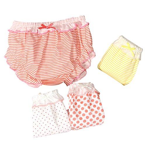 G-Kids 4 PCS Baby Mädchen Baumwolle Unterwäsche Unterhosen Kleinkinder Prinzessin Gepunkte Slips Schlüpfer (4 Pack, 80/0-6 Monate)
