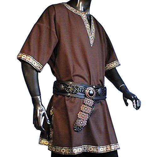 Tunika mit kurzem Arm, braun, Größe XL Mittelalter