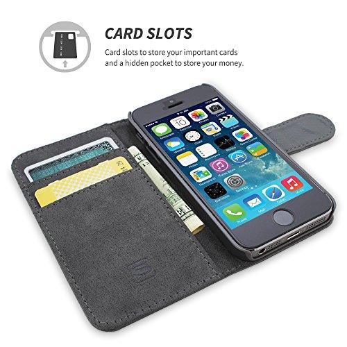 Cover iPhone SE, Snugg Apple iPhone SE Flip Custodia Case [Slot Per Schede] Pelle Portafoglio Progettazione Esecutiva [Garantita a Vita] - Cammello, Legacy Range Grigio
